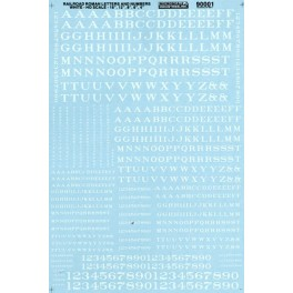 MICROSCALE DECAL 90001 - ALPHABET RAILROAD ROMAN WHITE