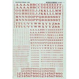MICROSCALE DECAL 90005 - ALPHABET RAILROAD ROMAN RED