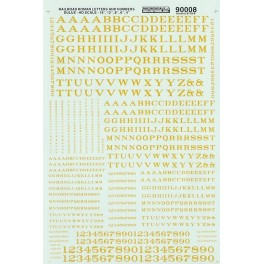 MICROSCALE DECAL 90008 - ALPHABET RAILROAD ROMAN DULUX GOLD