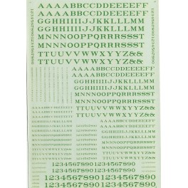 MICROSCALE DECAL 90009 - ALPHABET RAILROAD ROMAN GREEN
