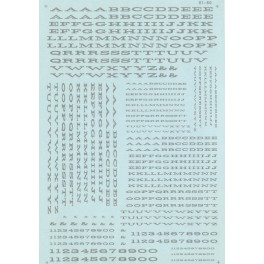 MICROSCALE DECAL 90014 - ALPHABET EXTENDED RAILROAD ROMAN SILVER