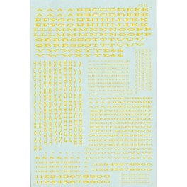 MICROSCALE DECAL 90016 - ALPHABET EXTENDED RAILROAD ROMAN YELLOW