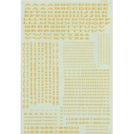 MICROSCALE DECAL 90018 - ALPHABET EXTENDED RAILROAD ROMAN DULUX GOLD