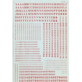 MICROSCALE DECAL 90035 - ALPHABET CONDENSED ROMAN RED