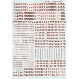 MICROSCALE DECAL 90105 - ALPHABET RAILROAD GOTHIC RED
