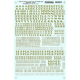 MICROSCALE DECAL 90203 - ALPHABET ZEPHYR GOTHIC GOLD
