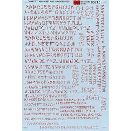 MICROSCALE DECAL 90215 - ALPHABET GRAFFITI STYLE RED