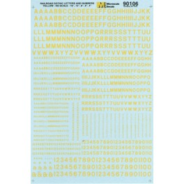 MICROSCALE DECAL 70106 - ALPHABET RAILROAD GOTHIC YELLOW