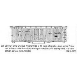 CDS DRY TRANSFER HO-208  DENVER & RIO GRANDE 30' / 40'  WOOD REEFER