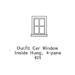 GRANDT LINE 25 - OUTFIT CAR INSIDE HUNG 4 PANE WINDOW - O SCALE