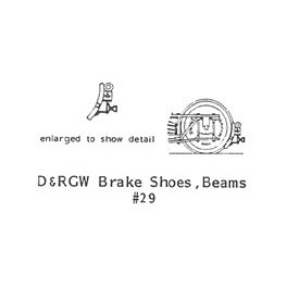 GRANDT LINE 29 - D&RGW BRAKE SHOES & BEAM SET - O SCALE