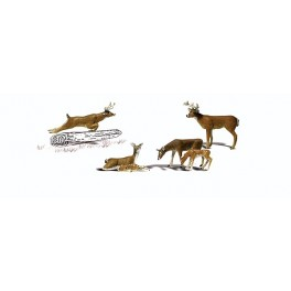 WOODLAND A2738 PAINTED FIGURES - WHITE TAIL DEER - O SCALE