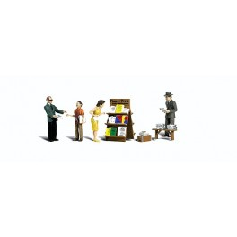WOODLAND A2740 PAINTED FIGURES - NEWSTAND - O SCALE