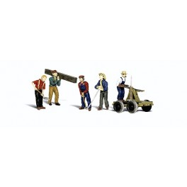 WOODLAND A2747 PAINTED FIGURES - RAIL WORKERS - O SCALE