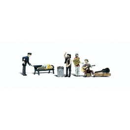 WOODLAND A2749 PAINTED FIGURES - PARK BUMS - O SCALE