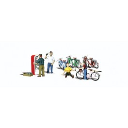 WOODLAND A2752 PAINTED FIGURES - BICYCLE BUDDIES - O SCALE