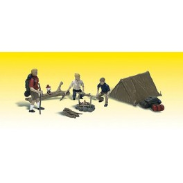 WOODLAND A2754 O SCALE PAINTED FIGURES - CAMPING