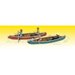 WOODLAND A2755 PAINTED FIGURES - CANOERS - O SCALE