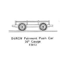 """GRANDT LINE 3012 - D&RGW FAIRMONT PUSH CAR - 36"""" GAUGE - O SCALE"""