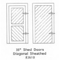 """GRANDT LINE 3610 - 35"""" SHED DOORS - DIAGONAL SHEATHED - O SCALE"""