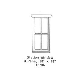 "GRANDT LINE 3706 - STATION WINDOW - 4 PANE - 30"" x 69"" - O SCALE"