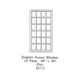 "GRANDT LINE 3712 - ENGINE HOUSE WINDOW - 24 PANE - 48"" x 96"" - O SCALE"