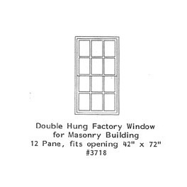 """GRANDT LINE 3718 - DOUBLE HUNG FACTORY WINDOW - 12 PANE - 42"""" x 72"""" - O SCALE"""