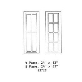 "GRANDT LINE 3729 - DEPOT WINDOW - 4 PANE AND 8 PANE - 24"" x 82"" - O SCALE"