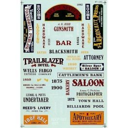 MICROSCALE DECAL 60-162 - WESTERN COWTOWN SIGNS - N SCALE