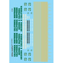 MICROSCALE DECAL 87-825 - ARIZONA & CALIFORNIA - CALIFORNIA NORTHERN DIESEL LOCOMOTIVES