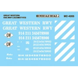 MICROSCALE DECAL MC-4205 - GREAT WESTERN RAILWAY DIESEL LOCOMOTIVES