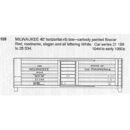 CDS DRY TRANSFER HO-159  MILWAUKEE ROAD 40' BOXCAR