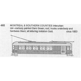 CDS DRY TRANSFER HO-552  MONTREAL & SOUTHERN COUNTIES INTERURBAN CAR - HO SCALE