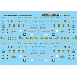 MICROSCALE DECAL MC-4117 - INTERNATIONAL CONTAINER DATA - 20', 40' & 45' CONTAINERS