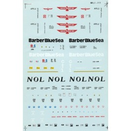 MICROSCALE DECAL 87-310 - ASSORTED CONTAINERS - AMERICAN PRESIDENTS LINE, BARBER BLUE SEA & NOL - HO SCALE