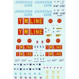 MICROSCALE DECAL 87-312 - ASSORTED 40' CONTAINERS - JOHNSTON LINE, YANG MING LINE