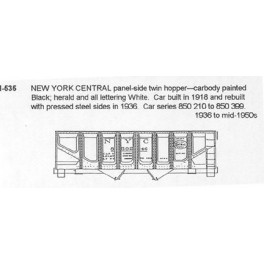 CDS DRY TRANSFER HO-535  NEW YORK CENTRAL 2 BAY HOPPER