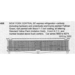 CDS DRY TRANSFER HO-668  NEW YORK CENTRAL HEAD END PASSENGER TRAIN CARS
