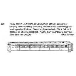 CDS DRY TRANSFER HO-670  NEW YORK CENTRAL PASSENGER CARS