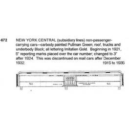 CDS DRY TRANSFER HO-672  NEW YORK CENTRAL LINES PASSENGER CARS