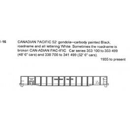 CDS DRY TRANSFER O-16 CANADIAN PACIFIC 48' / 52' GONDOLA