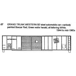 CDS DRY TRANSFER G-37  GRAND TRUNK WESTERN 50' BOXCAR