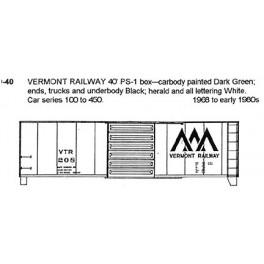 CDS DRY TRANSFER N-40  VERMONT RAILWAY 40'  BOXCAR - N SCALE