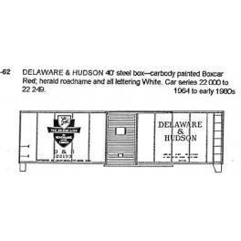 CDS DRY TRANSFER G-62  DELAWARE & HUDSON 40' BOXCAR