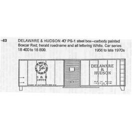 CDS DRY TRANSFER N-63  DELAWARE & HUDSON 40' BOXCAR - N SCALE