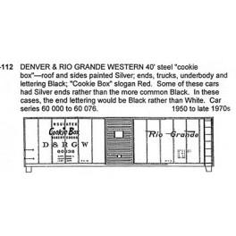 CDS DRY TRANSFER O-112  DENVER & RIO GRANDE 40' BOXCAR