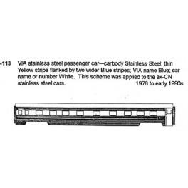CDS DRY TRANSFER N-113  VIA RAIL PASSENGER CAR - N SCALE