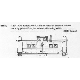 CDS DRY TRANSFER G-118  CENTRAL RAILROAD OF NEW JERSEY CABOOSE