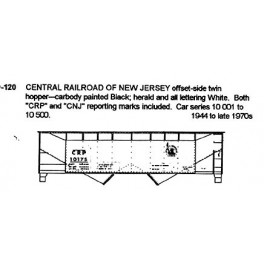 CDS DRY TRANSFER S-120  CENTRAL RAILROAD OF NEW JERSEY 2 BAY HOPPER