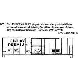 CDS DRY TRANSFER N-167  FINLAY PREMIUM 40' BOXCAR - N SCALE